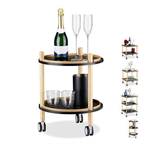 Relaxdays Table d'appoint avec roulettes, carrée, 2 à 3 étages, en Bois, MDF, Petit Chariot sur Roues, Noir, Plastique, Design C : Rond, 2 étagères, 1
