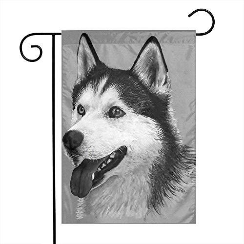 Zome Lag Hond Art Potlood Tekenen Siberische Husky Lente Familie Unieke Tuin Vlag Welkom Amerika Binnenplaats Outdoor Decoratie Logo Verticaal Dubbel tuinvlaggen M(70X107) Als afbeelding