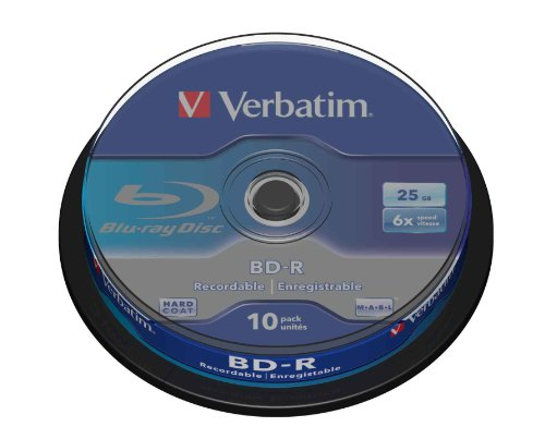 Verbatim BD-R Single Layer 25 GB - Blu-Ray-Disk - 6-fache Brenngeschwindigkeit - Hardcoat Scratch Guard - Spindel - 10er Pack