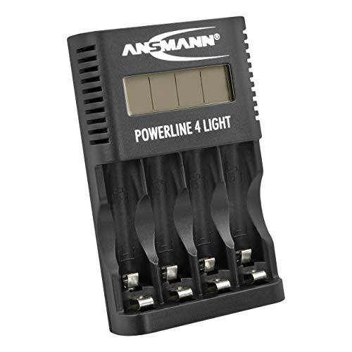 Ansmann Akku-Ladegerät für 4x AA & AAA NiMH Akkus - Batterieladegerät mit Einzelschachtüberwachung, automatische Abschaltung, Erhaltungsladung, LCD-Display & USB Lader - Powerline 4 Light, Schwarz