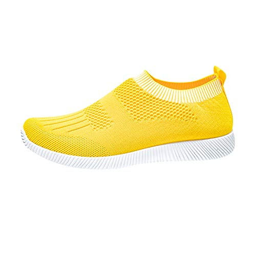 Sportschuhe Damen Sommer Neue All-Match Sneaker Straßenmode Ohne Verschluss Turnschuhe Faule Slip-on Stricken Laufschuhe Lässige Fitness Einfach Outdoorschuhe