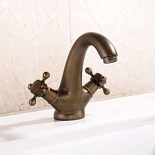 Grifos de baño, grifo mezclador de lavabo, grifo de baño de doble manija cruzada de bronce marrón vintage, grifo de agua
