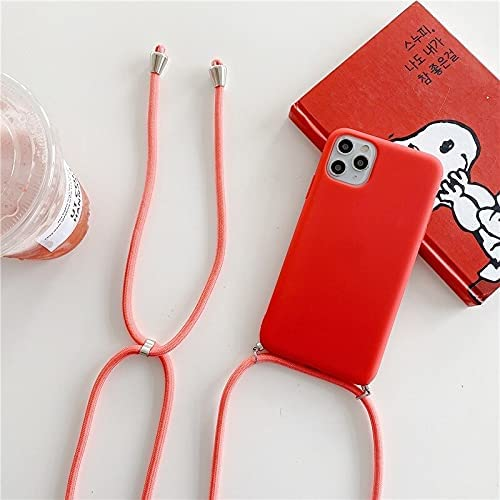 JOEDOT Crossbody Necklace Strap Lanyard Cord Silicone Phone case for iPhone 12 Mini 12 Pro Max 11 Pro Max X XR XS Max 6S 7 8 Plus Cover (10-red, for iPhone 6 6s)