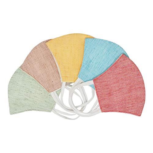 EcoRight - Mascarillas faciales de algodón lavables, de dos capas, reversibles, reutilizables, para hombres y mujeres, 20 x 14 cm, 5 unidades