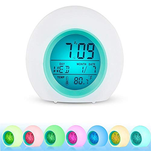 Wekker klok voor kinderen kind peuter volwassenen 7 kleuren veranderende wekker tafellamp Home decoratie voor kinderen, zware slapers, bedlamp, thuis