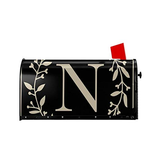 MSGUIDE Magnetic Mailbox Cover Classic Monogram Letter N Mailbox Wraps Post Classic Monogram Letter Box Cover Waterproof Mailwraps Standard Size 18' X 21 for Welcome Home Garden Yard Decor