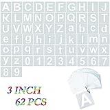 Canvall - 62 plantillas de letras del alfabeto y plantillas de números de 7.6 cm, para pintar, decoración del hogar, proyectos de arte escolar, reutilizables en madera, pared, tela, pizarra, vidrio