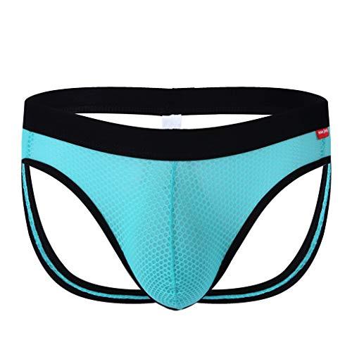 KaloryWee Männer Sexy Einfarbig Atmungsaktive Unterwäsche Mesh Nach leer Komforthose Herren Unterhose Hohl Slips Underpants