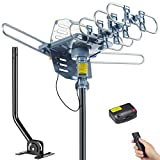 PBD Digital Outdoor TV Antenna, 150 Mile Motorized 360 Degree Rotation Support 2 TVs, Mounting Pole, 50FT RG6 Coax Cable, Wireless Remote Control, UHF/VHF, Snap-On Installation