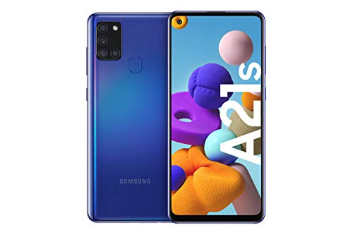 Samsung Galaxy A21s Android Smartphone ohne Vertrag, 4 Kameras, 5.000 mAh Akku, 6,5 Zoll HD+ Display, 32 GB/3 GB RAM, Dual SIM, Handy in blau, deutsche Version