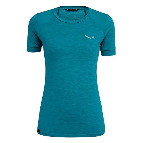 Salewa Pedroc Hybrid Dry W S/S T-Shirt pour Femme, Femme, 00-0000027484, Ocean Melange, 38W/32L