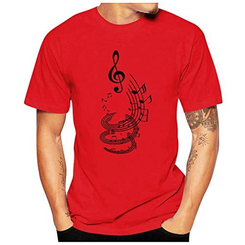 Yowablo T-Shirt à Manches Courtes pour Homme Mode décontracté drôle Note de Musique Impression o-Cou à Manches Courtes T-Shirt Hauts (3XL,1 Rouge)