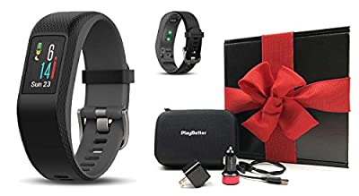 Garmin vivosport Gift Box Bundle | Includes PlayBetter USB Car & Wall Charging Adapters, Protective Hard Case | On-Wrist HR, Color Display, GPS Fitness Band | Black Gift Box