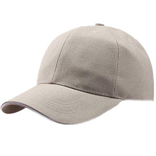 Baseball Kappe Unisex, Sunday Frauen Baseball Cap Snapback Hut Hip-Hop Einstellbar Outdoor Sports Pure Farbe Hüte (Beige)