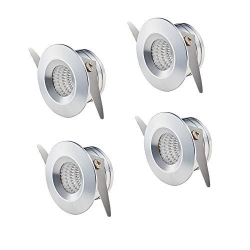 Yeehome 4 x luces pequeñas de 3 W para empotrar mini focos LED blanco frío Station plafones de techo para el yeso de interiores iluminación incl. transformador Seperated
