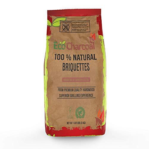 ECONEW EcoCharcoal 100% Natural Hardwood Briquettes, Premium Quality Hardwood Charcoal for Grilling, 6.61 lb Bag