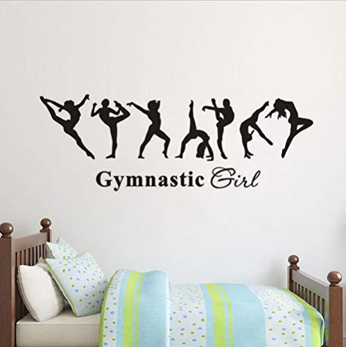 Olivialulu Verwijderbare Vinyl muur Applique Gymnastiek Meisje Muurstickers Kinderen Kamer Decoratie Ballerina Behang Gymnastiek Muurposter Ay1699 161 * 57Cm Aanpasbaar