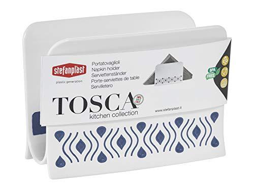 Stefanplast, Blu, Linea Tosca, Portatovagliolo da Tavolo per Alimenti, qualità Extra 100%, Made in Italy, 7,5x15,5 cm, Resina