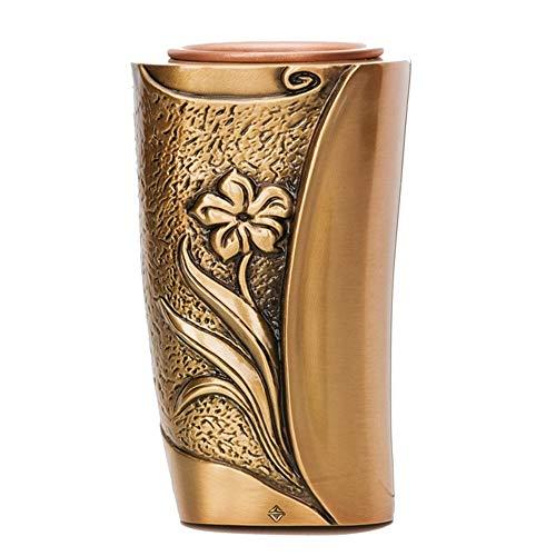REAL VOTIVA FONDERIE D'ARTE Vase à Fleurs en Bronze pour Pierres tombales - Ligne SEBA (19 cm, au Sol, récipient Interne en Plastique) [T.03.3260/19/PL]