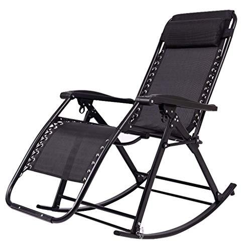 DGHJK Cómoda Silla Mecedora Plegable Relajante jardín al Aire Libre sillas de Gravedad Cero Fuerte Resistente para Patio Playa Piscina Carga máxima 150 kg