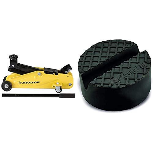 Dunlop Hydraulischer Wagenheber/Sche Scherenheber-2000 Kilo-Gelb und Schwarz & Cartrend 10282 Universelle Gummiauflage für Wagenheber und Hebebühnen