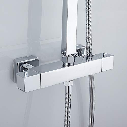 Duschthermostat Duscharmatur Thermostat Dusche Bad G 3/4 Oben G 1/2 Unten Auslauf Anschluss aus Messing Verchromt Eckiger Brausethermostat mit 38 °C Sicherheitstaste