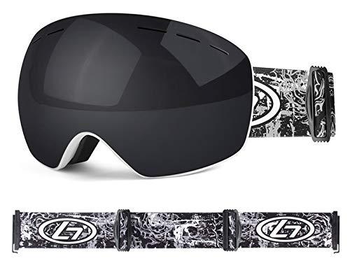 XDKS Occhiali da sci da snowboard OTG per uomini e donne giovani protezione anti-appannamento UV casco compatibile (bianco e nero)