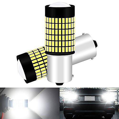 ALOPEE 2-Pack 1156 Lampadine per Retromarcia Auto - 9V-30V 3014 144 SMD LED con Proiettore - Sostituzione 1141 1073 7506 1003 per Interni RV Camper Luce Posteriore per Backup 6000K Xenon White