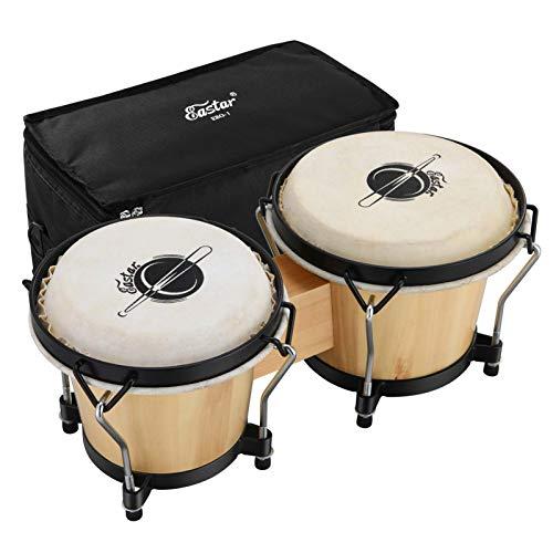 Eastar Bongo Trommel 6 Zoll/15.24 CM und 7 Zoll/17.78 CM Percussion Holzbongo mit Tasche, Natur (EBO-1)
