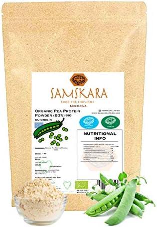Proteina de Guisante (83%) en Polvo de Agricultura Ecológica BIO | Textura Suave y Sedoso | vegetal sabor neutro aislado SAMSKARA (1 kg de Origen UE)
