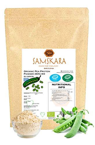 Proteina de Guisante (83%) en Polvo de Agricultura Ecológica BIO, vegetal sabor neutro aislado SAMSKARA (1 kg de Origen UE)