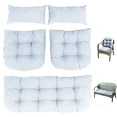 Indoor Outdoor 5 Piece Bench Cushion Set Wicker Settee Cushion with 2 Backrests Patio Wicker Seat Cushions+2 Lumbar Pillow,Loveseat Cushions for Furniture Patio Lounger Chairs Recliner (Gray)