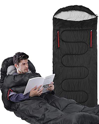 Schlafsack, Sportneer Anziehbarer Deckenschlafsäcke 220 x 84 cm tragbarer 4-Jahreszeiten-Schlafsack mit Reißverschluss für Arme und Füße, für Kinder und Erwachsene, Camping, Wandern, Reisen (Schwarz)