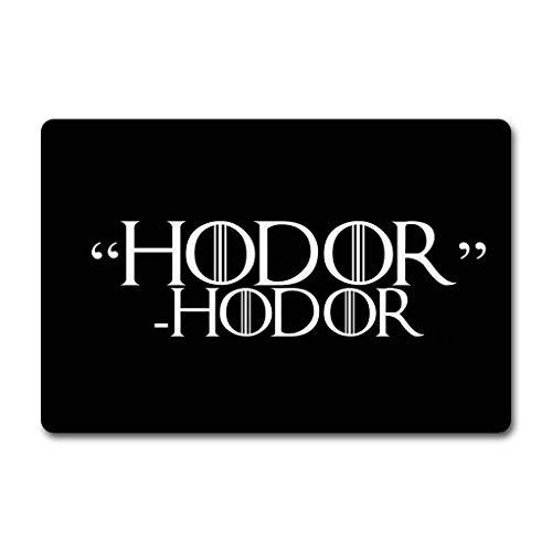 Wdskbg Entrance Door Mat Hodor Hodor Monogram Creative Doormat, Hold The Door (23.6 X 15.7 in) Non-Woven Fabric Top with a Anti-Slip Rubber Back. Door Rugs Rubber Doormat