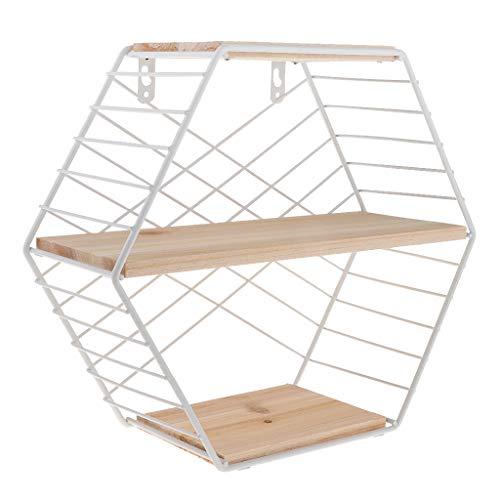 joyMerit Estantes De Hierro Rack De Almacenamiento De Pared Hexagonal con Rejilla De Soporte De Almacenamiento De Madera, Estante De Exhibición - Blanco, Individual