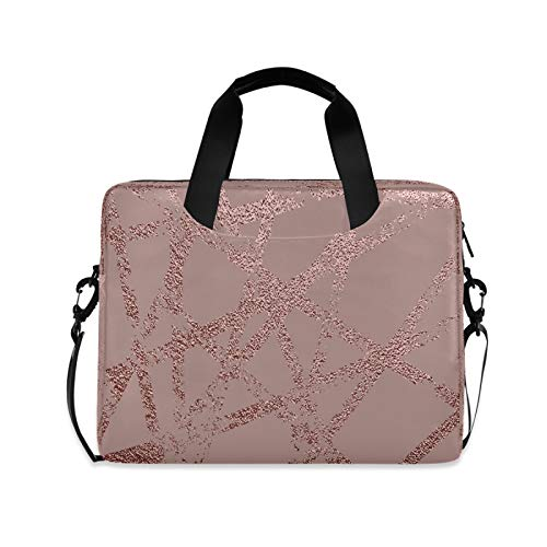 Yulife Pink Rose Marble Laptop Bag Sleeve Case for Women Men Gold Glitter Briefcase Tablet Messenger Shoulder Bag with Strap Notebook Computer Case 14 15.6 16 Inch for Kids Girls Business