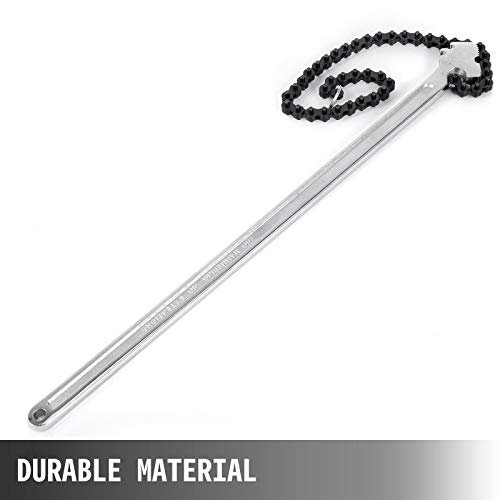 Mophorn 24inch Chain Wrench Carbon Steel Chain Pipe Wrench Heavy Duty 6.7inch Diameter Capacity Chain Strap Filter Wrench