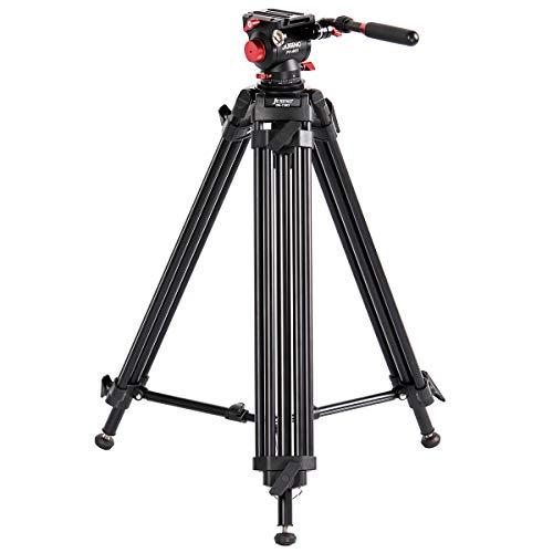 Profi Video-Stativ aus Aluminium JUSINO DK-1503 mit Hydraulik-Videokopf PH-60II für mittlere und große DSLRs und Camcorder, 10kg Tragfähigkeit, 66-150cm Höhe