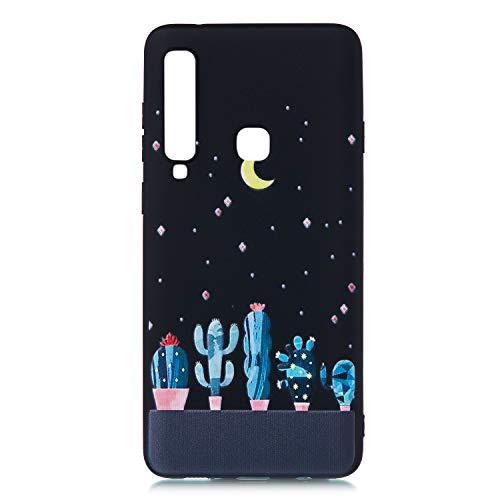 Yobby Hülle für Samsung Galaxy A9 2018,Schwarz Weich Silikon Sternenhimmel Motiv Schale mit Süß Kaktus Muster Slim Flexibel Gummi TPU Stoßfest Schutzhülle Rückseite