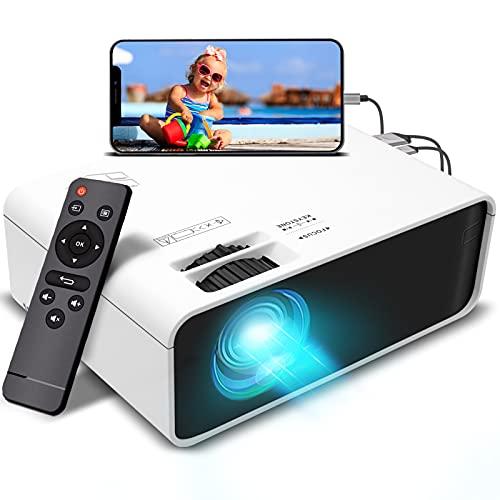 Mini Beamer Projektor mit 2 Lautsprechern - 5500 Lumen Tragbarer Heimkino Beamer, 200 Zoll Display und 1080P Full HD Unterstützt, kompatibel mit TV Stick, HDMI, AV, VGA, USB, Xbox, iOS/Android Handy