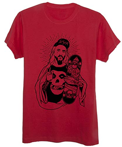 New Indastria T-Shirt Skate Jesus Skater - Skater Street & Social - Uomo-L-Rossa