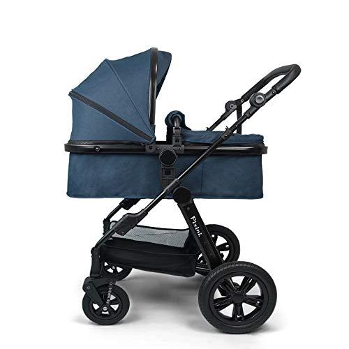 Pixini Kombi Kinderwagen Arizona Luxe petrolblau mit Kunstledergriff