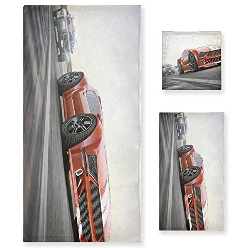 ZORMIEY Juego de 3 Toallas Decorativas Suaves y Altamente absorbentes The Chase Police Car Persiguiendo un Deporte exótico con desenfoque de Movimiento, 1 Toalla de baño + 1 Toalla de Mano + 1 toalli