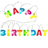 Novelty Place 'Happy Birthday LED String Lights, Multicolor Light Up Letter Birthday Party Hanging Decorations (1.2' Letter Size, 3' Long, Battery Not Included)