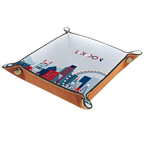 Bandeja de dados, plegable de cuero para dados, para juegos de dados, D&D y otros juegos de mesa, vintage Londres, Reino Unido, bandera británica, autobús