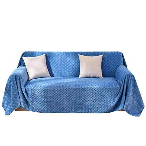 DHTOMC Funda de sofá geométrica de terciopelo suave, funda de sofá fácil de limpiar y duradera, funda de sofá universal para sala de estar, dormitorio, color azul