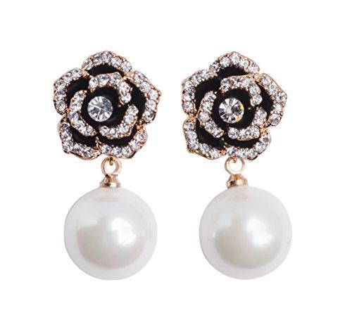 Fashion jewelry designer imitation pearl camellia rhinestone flower charm dangle earrings for women