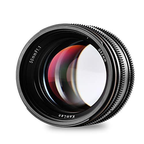 Kamlan 50mm F1.1 APS-C Große Blende Manueller Fixfokus Objektiv, Standard Prime Lens für M4/3 Spiegellose Kameras