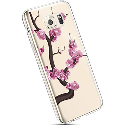 Ysimee Hülle kompatibel mit Samsung Galaxy S6 Edge Handyhülle, Transparent Weiche Silikon Schutzhülle Muster Blumen [Crystal Klar] TPU Bumper Dünne Stoßfeste Protective Hülle, Rot Blume