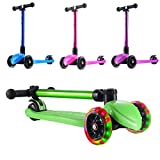 Playshion Foldable Kick Scooter for Kids with Adjustable Height and LED Light up Wheels Width 30mm Bright Green